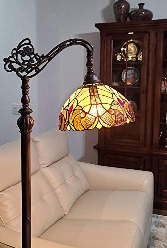 Amora Lighting Tiffany Style Floor Lamp Arched Vintage Antique 62″ Tall Stained Glass Brown Red Tan Traditional Light Decor Bedroom Living Room Reading Gift AM344FL12