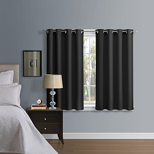 Luxury Homes Solid Premium Quality Thermal Insulated Blackout Curtains With Antique Bronze Grommet Ring Top – Bonus Matching Tiebacks Worth $9.99 Included – 52″Wx63″L (Black)