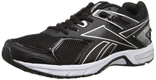 Reebok Men's Quickchase Running Shoe, Black/Pure Silver/White, 11.5 M US
