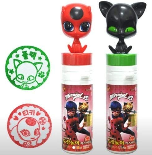 MLB005 Miraculous Ladybut Toy Stamp Plagg Tikki, with Vitamin C Candy Drops (Tikki+Plagg)
