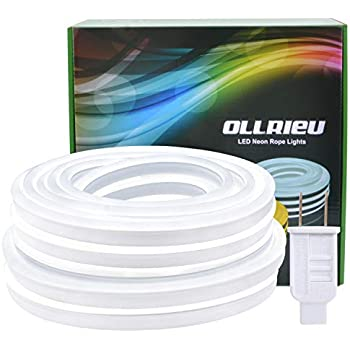 ollrieu LED Rope Lights, 110V 50Ft / 15m Flexible White Neon with IP68 Waterproof, 6000K Interconnectable, UL Approved, Indoor & Outdoor Decoration, Upgraded PVC Light Band