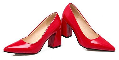 Aisun Donna Elegante Brunito Low Cut Dressy High Block Tacco Slip On Scarpe A Punta Punta A Punta Scarpe Da Sposa Rosso