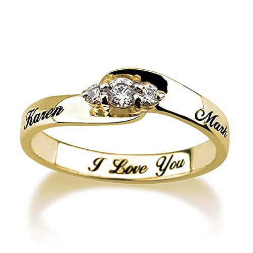 (Engraved Ring 14k Gold Solitaire Engagement Ring Promise Ring (7) )