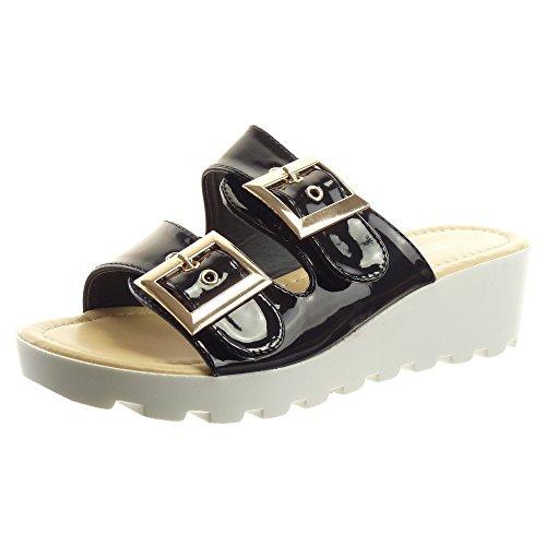 Sopily - damen Mode Schuhe Sandalen Offen glänzende Schleife - Schwarz