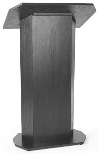 Displays2go 49-Inch-Tall Floor-Standing Lectern Podium with Knockdown Design for Mobility - Black Laminate (LCTCVKDBK) by Displays2go