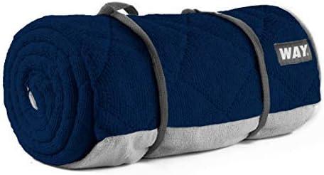 WAYmat Core Exercise Mat - Thick All-Purpose Non-Slip Yoga Towel Mat, Perfect for Hot Yoga, Bikram and Pilates (Navy Blue)
