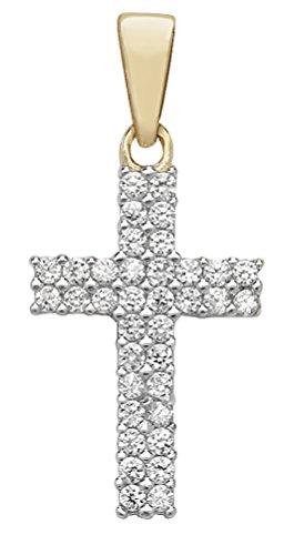 Or 9ct Oxyde de Zirconium Croix pendentif sur un collier de Belcher