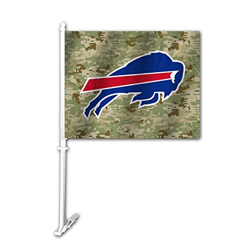 NFL Buffalo Bills Camo Car Flag, Green, One (Buffalo Bills Football Car Flag)