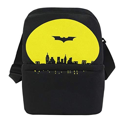 Black Adult Lunch Box Insulated Lunch Bag Cooler Tote Bag for Men, Women, Double Deck (Batman Lunch Adult Box)