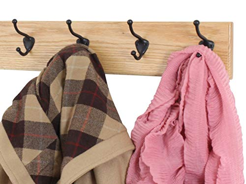 Solid Oak Wall Mounted Coat Rack with Oil Rubbed Bronze Wall Coat Hooks - Made In the - Rack Oak Craftsman Coat