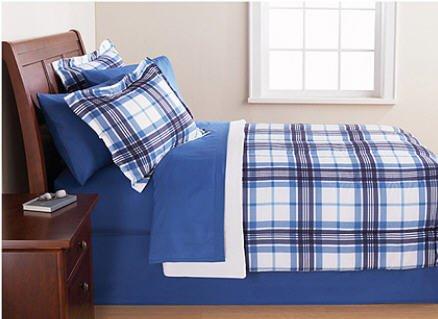 Blue & White Plaid Full Comforter Set
