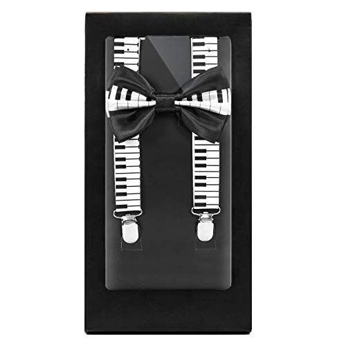 - Y-Back Suspender and Bow Tie Matching Set, Adjustable, Clip Design| Great Gift | (Piano Tiles)