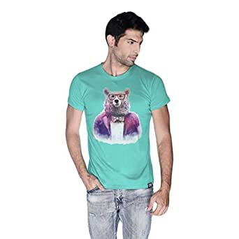 Creo Bear Pug Life Round Neck T-Shirt For Men - L, Green