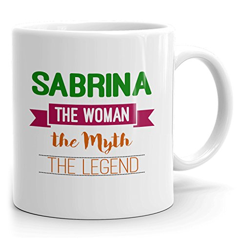 Personalized Sabrina Mug - The Woman The Myth The Legend - Gifts for Women, Wife, Mom, Girlfriend - 11oz White Mug - Green