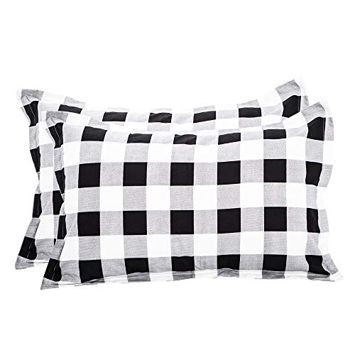 TEALP Buffalo Plaid Pillow Covers with Envelope Closure End Set of 2(Queen,White and Black Plaid)