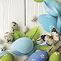"""Decorative Easter Eggs Paper Cocktail Napkins GENTLE EASTER BLUE EGGS with Butterfly 40pcs 10""""x10"""" Easter Beverage…"""