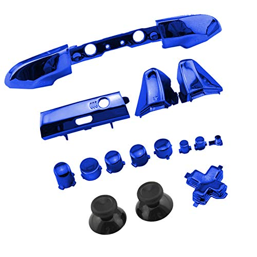 WPS Chrome Color ABXY Dpad Triggers Full Buttons Set Mod Kits for Newest Xbox One Slim/Xbox one S Controller with Screwdriver (Torx T6 T8) Set (Chrome Blue) (Blue Buttons Xbox)