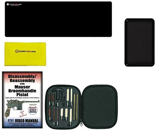 AGI DVD Mauser Broomhandle Broom Handle Pistols Takedown + Ultimate Arms Gear Gunsmith Gun Mat + Pistol Cleaning Kit for .22 .357 .38 9mm .44 .45 Tools + Gun Cleaning Cloth + Magnetic Tray