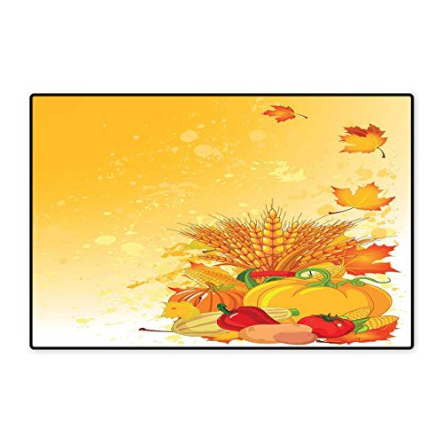 (Harvest Door Mat Small Rug Vivid Festive Collection of Vegetables Plump Pumpkins Wheat Fall Leaves Bath Mat for Bathroom Mat 16