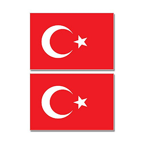 Turkey Turkish Country Flag - Sheet of 2 - Window Bumper Stickers