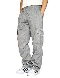 DREAM USA Men's Heavyweight Fleece Cargo Sweatpants, Grey, Medium