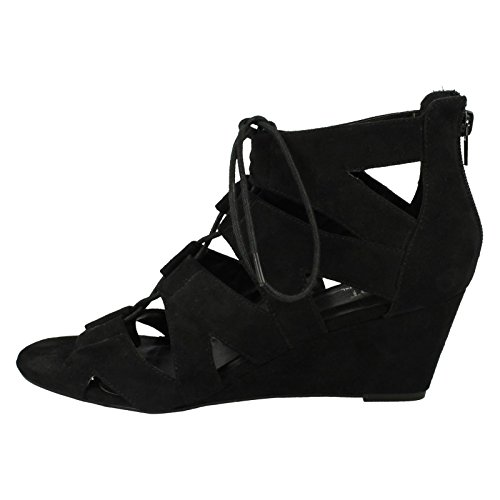 Black Up Sandals Spot Lace Wedge On Ladies x4gP6qwfxc