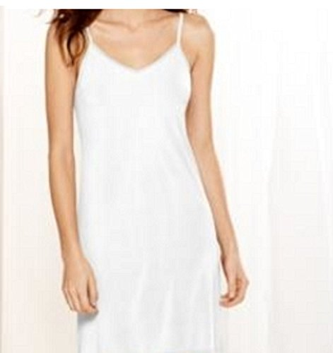 Jones New York Womens Solid Silky Microfiber Chemise White M