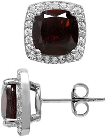 4.94ct. Natural Cushion Shape Garnet White Gold Plated 925 Sterling Silver Halo Stud Earrings