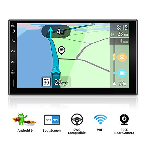 Double Din Car Stereo Android 9.0 Quad Core 7 Inch HD 1024600 Touchscreen Universal Car Radio Navigation Entertainment Multimedia Google/Steering wheel/GPS/WIFI/Bluetooth/Mirror Link(No DVD Player!) (10-2 Quad Core Android Car Gps Nav Stereo)