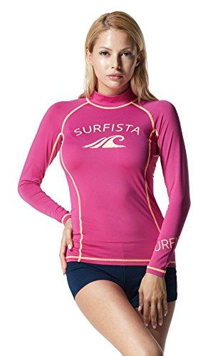 TM-WT71-PPNZ_Large Tesla Surfista Women's UPF 50+ Long Sleeve Athletic Rashguard WT71