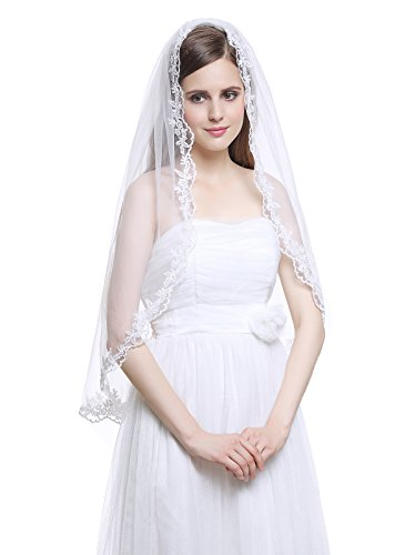 [MISSYDRESS 1T Elbow Bridal Wedding Veil Applique Edge with Comb-V31 Ivory] (Gothic Bride Halloween Makeup)