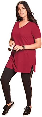 Roamans Women's Plus Size V-Neck Max Tunic Classic Red,6X