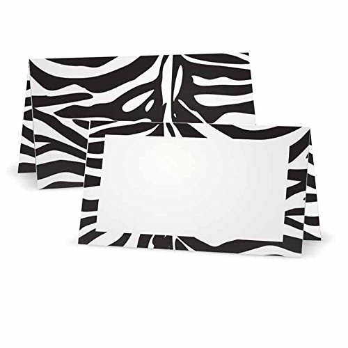 (Zebra Animal Print Place Cards - FLAT or TENT Style - 10 or 50 PACK - White Blank Front with Border - Placement Table Name Seating Stationery Party Supplies Dinner Occasion Event (50, TENT STYLE))