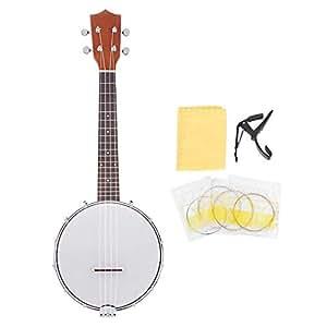 Dilwe Banjo de 4 Cuerdas Set, 4-String Banjo con Cuerdas BJ10 Capo Paño de Limpieza Set Regalo de Instrumentos Musicales para Amigos Amantes de la Música