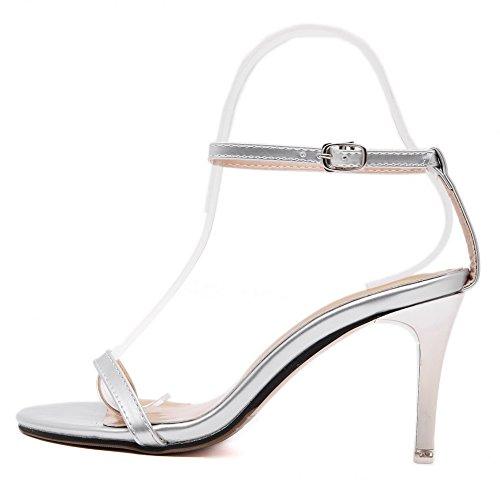 VogueZone009 Mujeres Hebilla Puntera Redonda Plataforma Cuero con Decorado Zapatos de Tacón, Blanco, 41