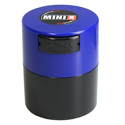 Minivac - 10g to 30 grams Airtight Multi-Use Vacuum Seal Portable Storage Container for Dry Goods, Food, and Herbs - Dark Blue Cap & Black Body