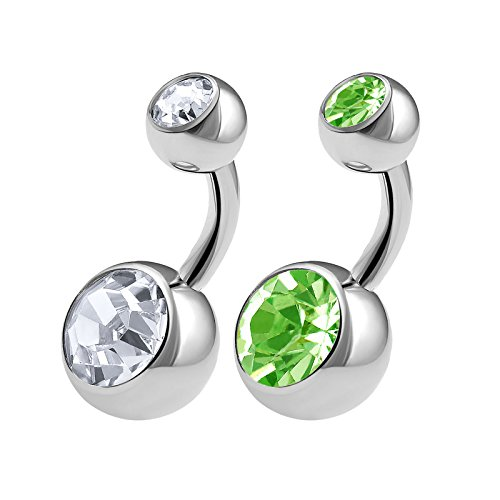 2PCS 316L Surgical Steel Short Belly Button Rings Studs 14 Gauge 1/4 6mm Peridot Crystal Balls Navel Piercing Jewelry 0567