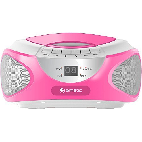 Ematic CD Boom Box with Bluetooth Audio and Speakerphone, Pink