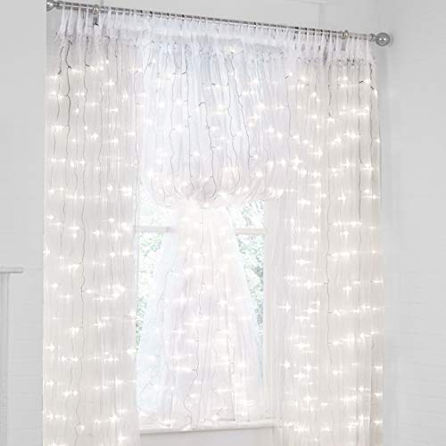 Lit Glass Panel - BrylaneHome Pre-Lit Tab-Top Curtain Panel - White