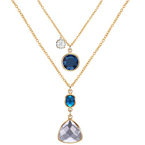 FAMARINE 2 Layers Pendant Long Necklace Set, Gold Snake Chain CZ Crystal Teardrop Pendant, Gold and Blue ()