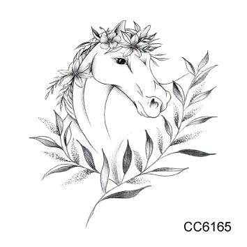 Zzebra Cc6165 As328 6x6cm Little Vintage Simple Style Cute Black White Panda Dinosaur Wolf Animal Temporary Tattoo Sticker Body Art Amazon In Beauty