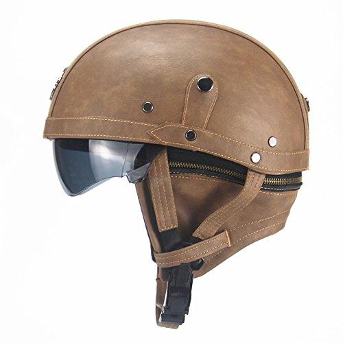 ETbotu Unisex Leather Helmets for Bike Bicycle Retro Half Cruise Helmet Cycling Helmett Light Brown