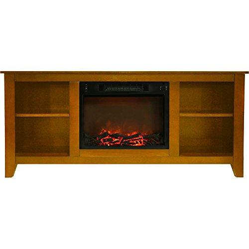 Fireplace Santa Monica - Cambridge CAM6226-1TEK Santa Monica 63 In. Electric Fireplace & Entertainment Stand in Teak w/ 1500W Charred Log Insert