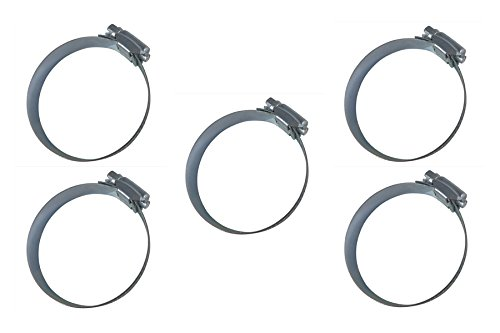 """2 to 4-1//4 Range 1//2 Wide Band with Worm Drive Screw Plated for Dust Collector Taylor Toolworks Taytools 734234 5-Piece 4/"""" Hose Clamps"""