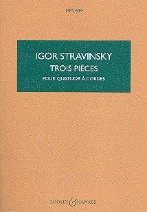BOOSEY & HAWKES STRAVINSKY I. - THREE PIECES - STRING QUARTET Classical sheets Pocket (Igor Stravinsky Three Pieces)
