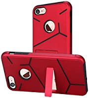 HR Wireless For Apple iPhone 8/ 7 HLX Hybrid PC TPU with Kickstand Cover - Red+Black