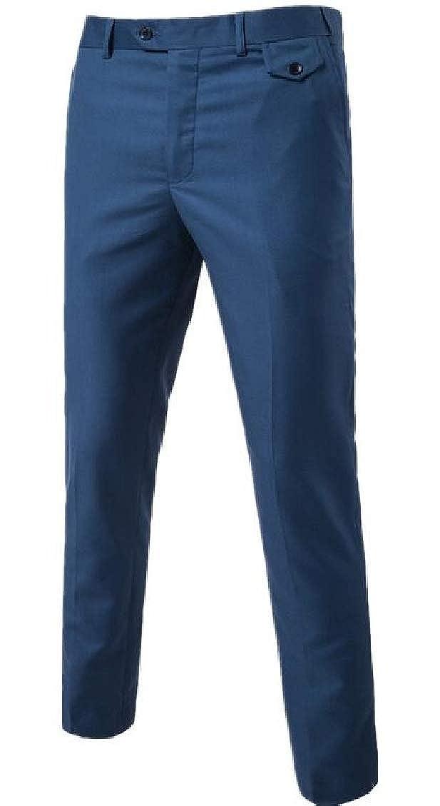 Spirio Men Plain Formal Casual Cotton Simple Slim Fit Business Wedding Chino Pants