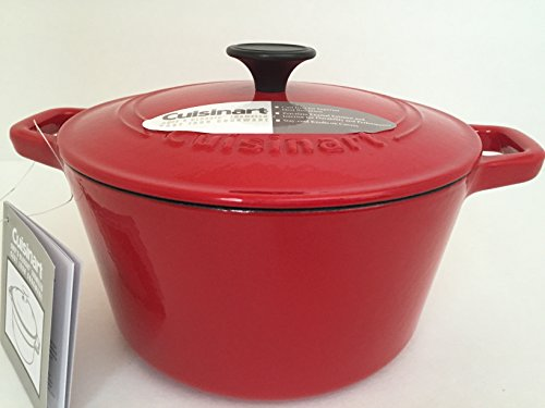 Cuisinart Classic Enamel Cast Iron 5-quart Round Covered Casserole Chef Cookware Red Pan