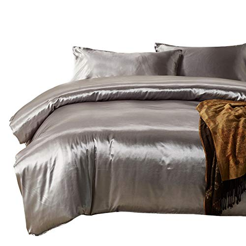HOTNIU Full Satin Silk Duvet Cover Set with Zipper Closure - Quality Ultra Soft Premium 3 Piece Bedding Collection Sets - 100% Microfiber Comforter Protector with SHAM - Ensemble Silver Bed