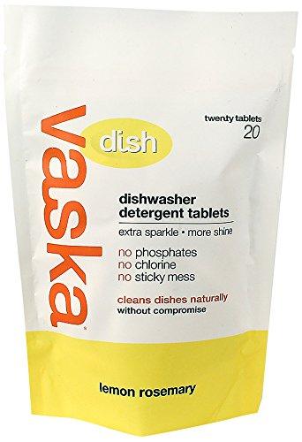 vaska Dishwasher Detergent Tablet, Lemon Rosemary, 20 Count (Pack of 6)